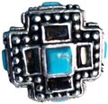 Unknown Turquoise, Smoky Quartz & Sterling Silver Cross Detail Ring
