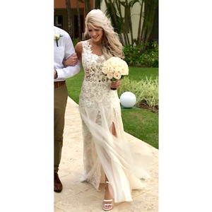 Ines Di Santo Ivory Silk Morning Layered Lace & Organza Front Slit Gown Destination Wedding Dress Size 2 (XS)