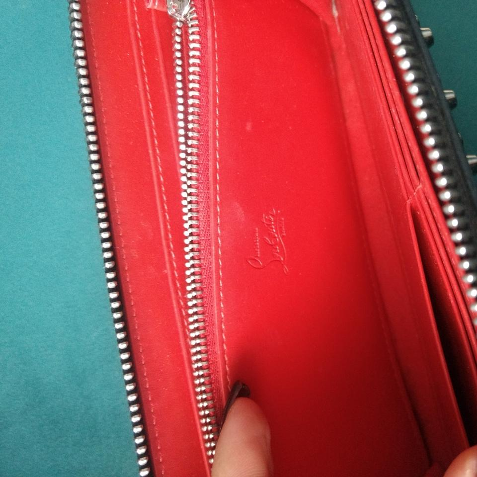bafe3adf6a0 Christian Louboutin Silver Panettone Specchio Spike Wallet 49% off retail