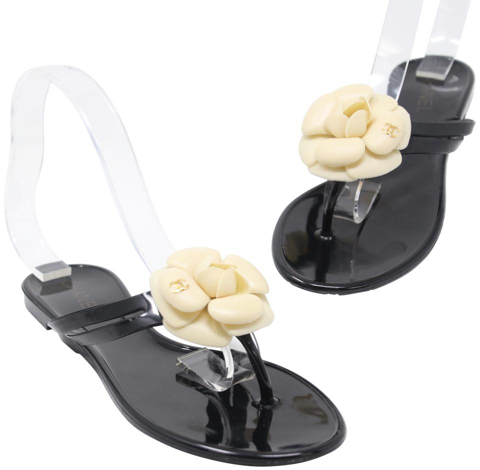 d635b59c9aad Chanel Black Cream Rubber Camellia Flower Thong Jelly Pvc Sandals ...