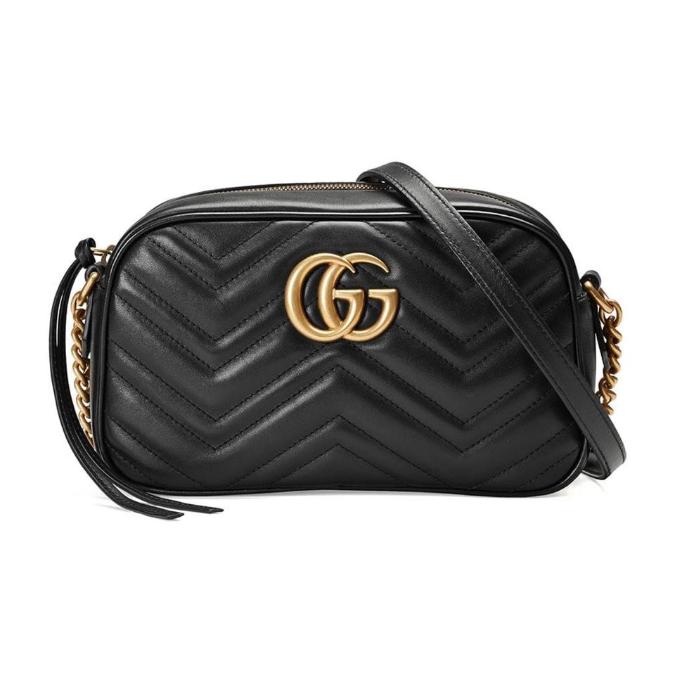 afce6962518 Gucci Marmont Gg Matelasse Small Crossbody Black Leather Shoulder ...