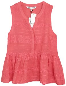 cupcakes and cashmere Embroidered Peplum Sleeveless Top Coral Pink