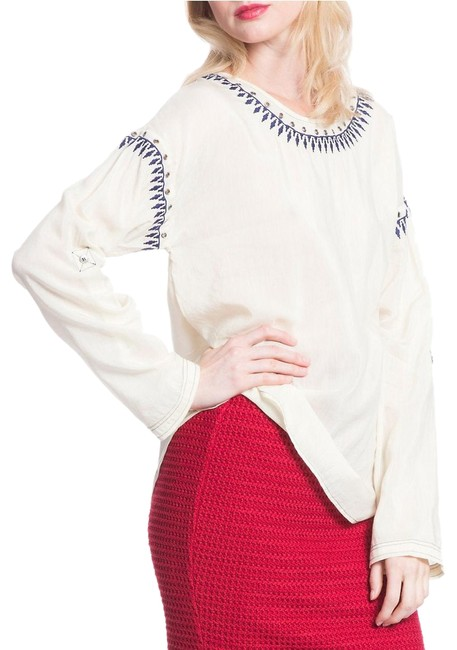 Item - Cream Embroidered Dolman Tee In White New S Blouse Size 6 (S)