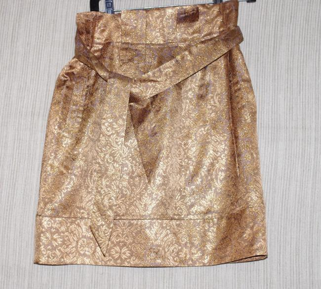 Item - Gold Floral Pleated Party Skirt Size 6 (S, 28)