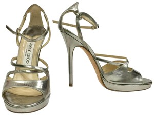 Jimmy Choo Strappy Platform Metallic silver Sandals