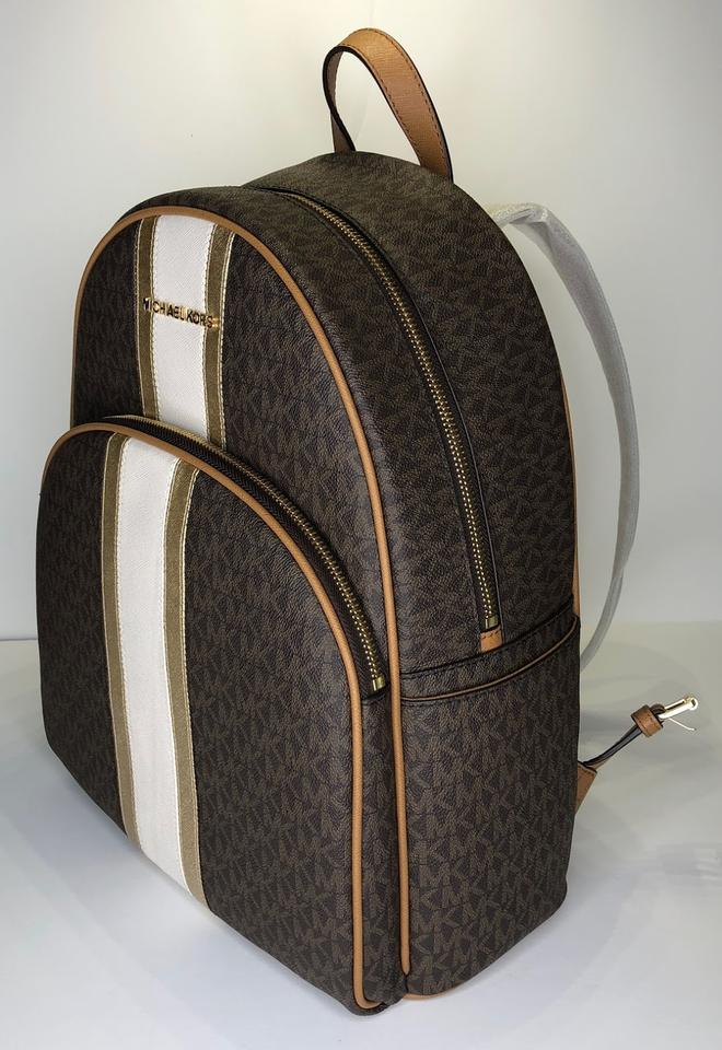 e438dd45dc71a0 Michael Kors Abbey Large and Matching 3/4 Zip Wallet Signature Mk Brown  Center Stripe Leather Backpack - Tradesy