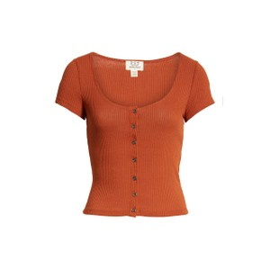 Project Social T Stretchy Sleeve Buttons Crop T Shirt Rust