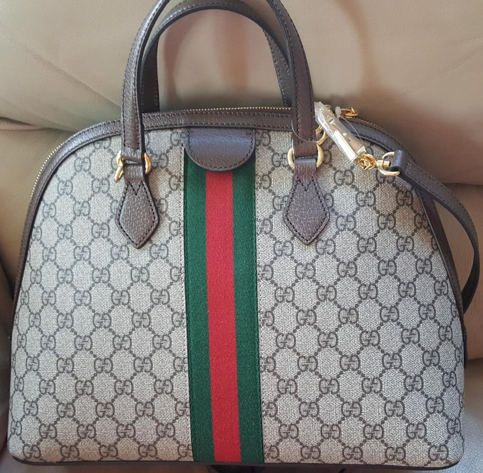 2c20a01c944ec Gucci Ophidia Gg Medium Top Handle Gg Black Brown Canvas Leather Tote -  Tradesy