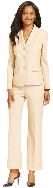 Item - Tan Boboli Gardens 2pc Shawl Collar 14p Pant Suit Size Petite 14 (L)