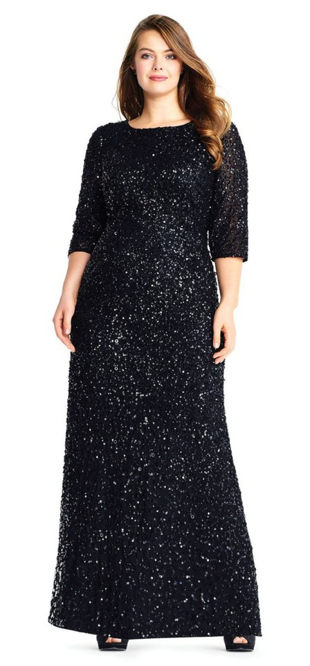 Adrianna Papell Black Sequin 3/4 Sleeve Beaded Gown Long Formal Dress Size  16 (XL, Plus 0x) 48% off retail