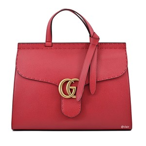Gucci Leather Satchel in Vulcanic Red