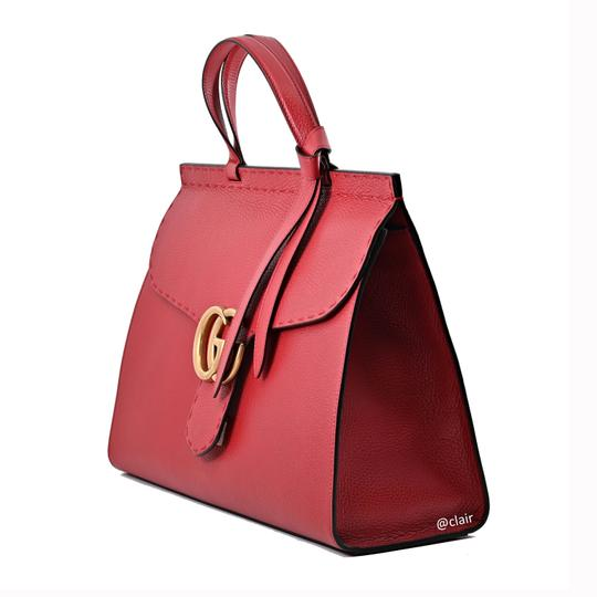 Gucci Leather Satchel in Vulcanic Red Image 1