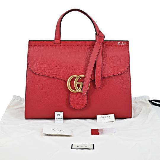 Gucci Leather Satchel in Vulcanic Red Image 4