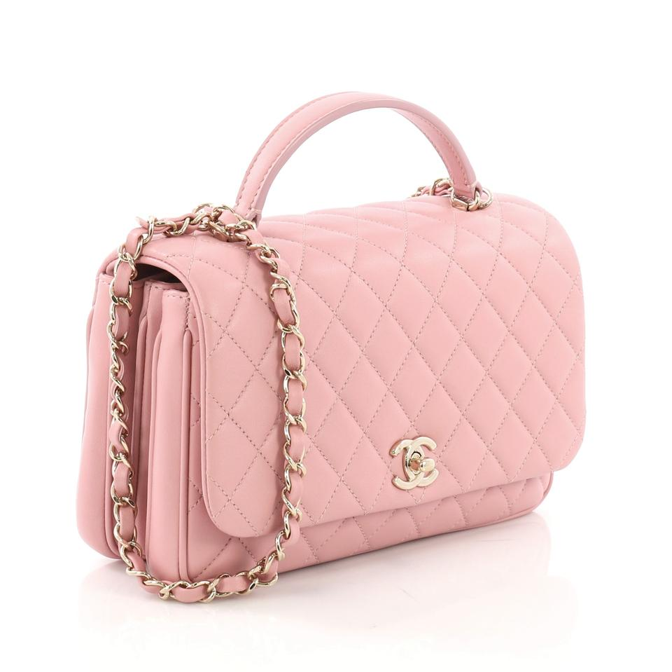 eaeaa83e4959 Chanel Top Handle Citizen Chic Quilted Small Pink Lambskin Leather ...