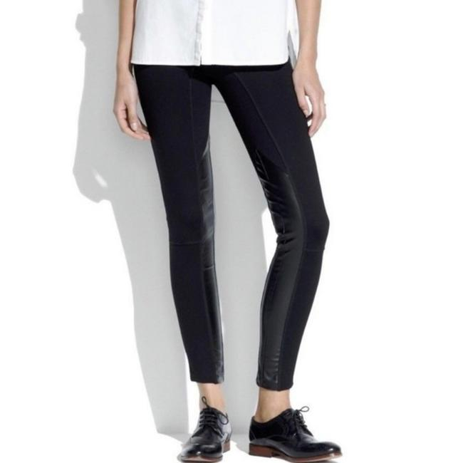09c9910a20649 Madewell Black Ponte Panel Faux Leather Pants Size 8 (M, 29, 30 ...