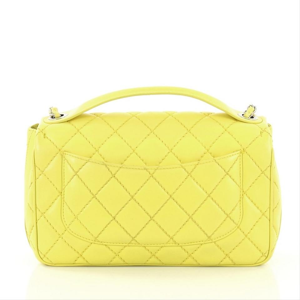 d5a3a65e0ee5 Chanel Classic Flap Easy Carry Quilted Medium Yellow Lambskin ...