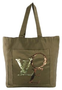 Louis Vuitton Thats Love Satin Tote in Olive Green