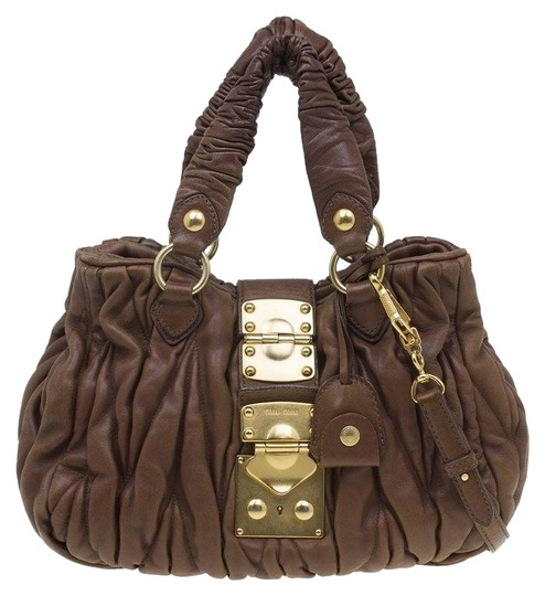 6e76291e985 Miu Miu Matelasse Bauletto Aperto Brown Leather Tote - Tradesy