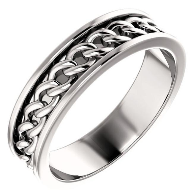 Item - 14k White Link Chain Ring Men's Wedding Band