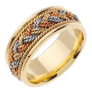 Apples of Gold 14k Tri-color Handmade Braided Band Ring