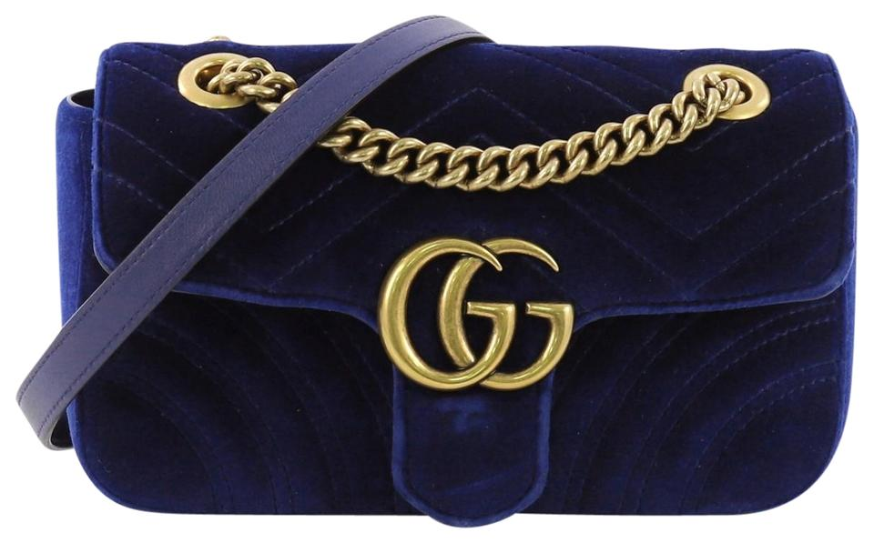 e3502ed85769 Gucci Flap Marmont Gg Matelasse Mini Blue Velvet Cross Body Bag