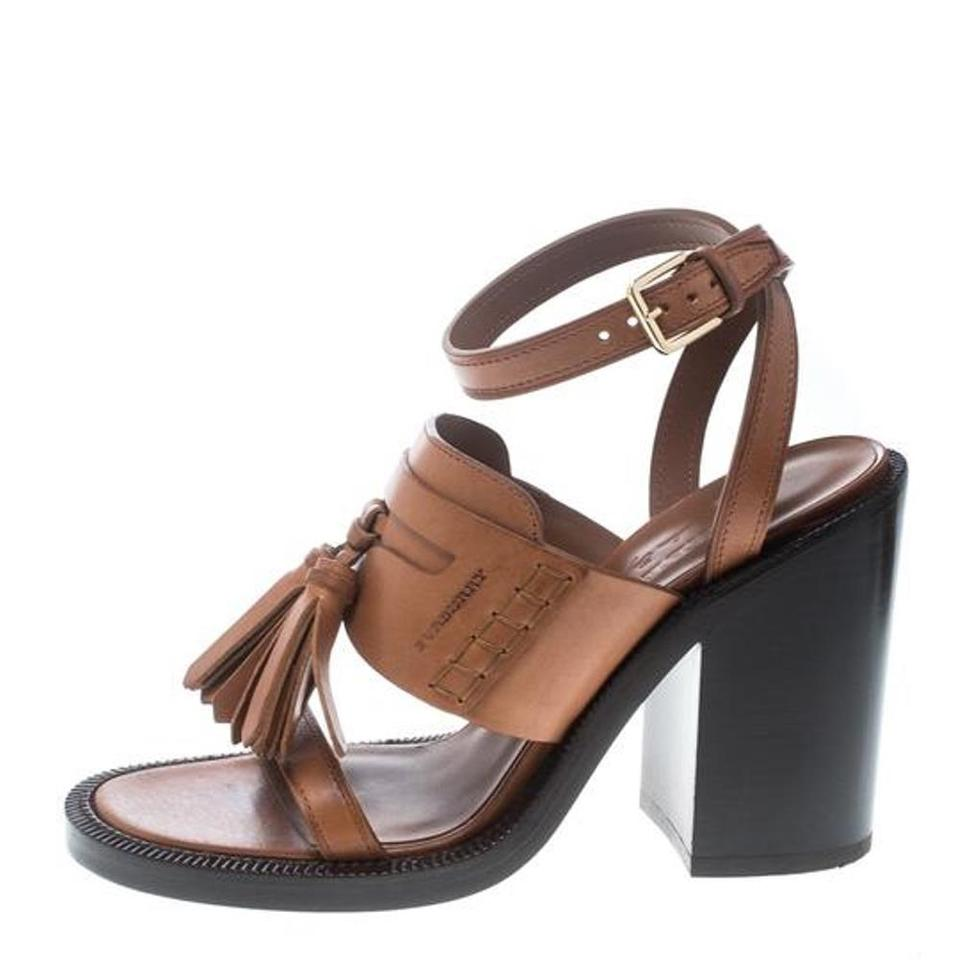 e1914c3a8352 Burberry Brown Cognac Leather Bethany Tassel Detail Block Sandals ...