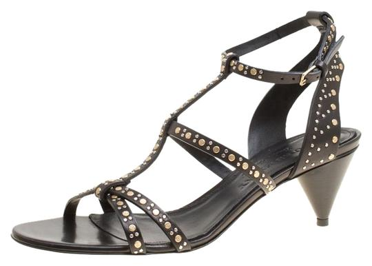 cc5b15618accdd Burberry Black Leather Studded Hansel Cone Heel T Strap Sandals Size ...