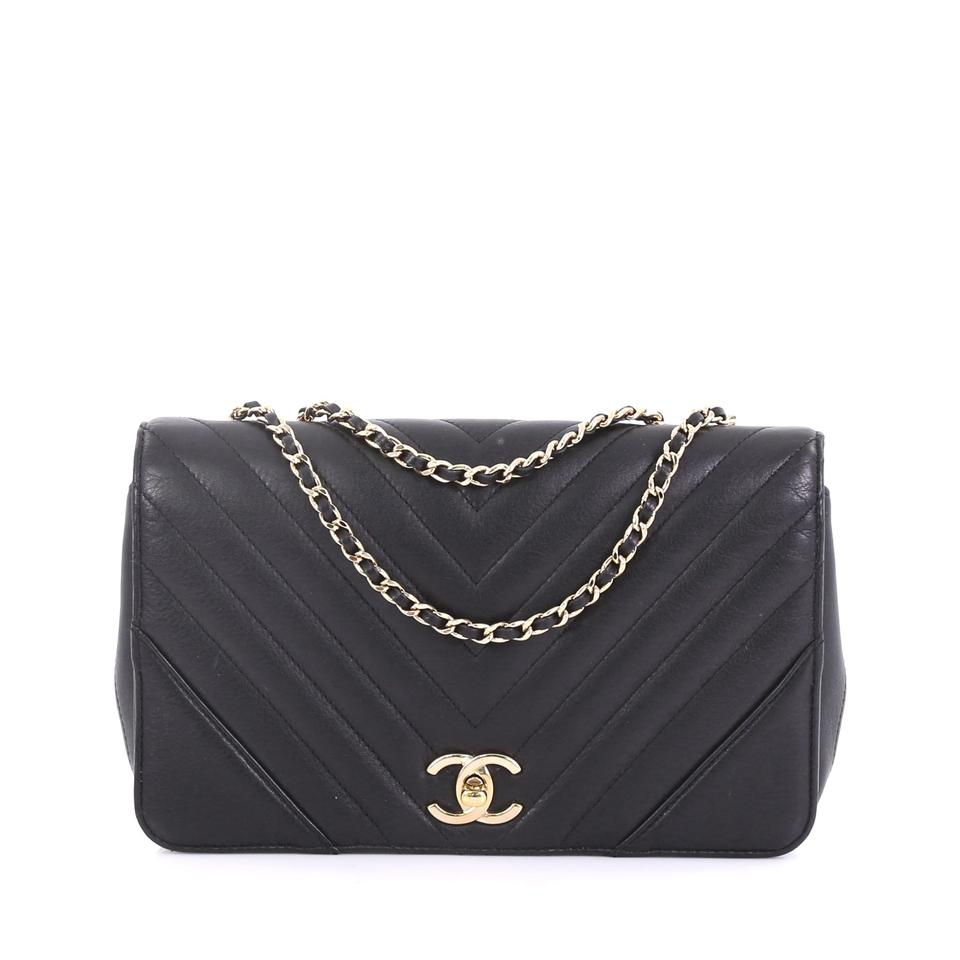 8a4a39c52f6a Chanel Classic Flap Statement Chevron Small Black Calfskin Leather ...