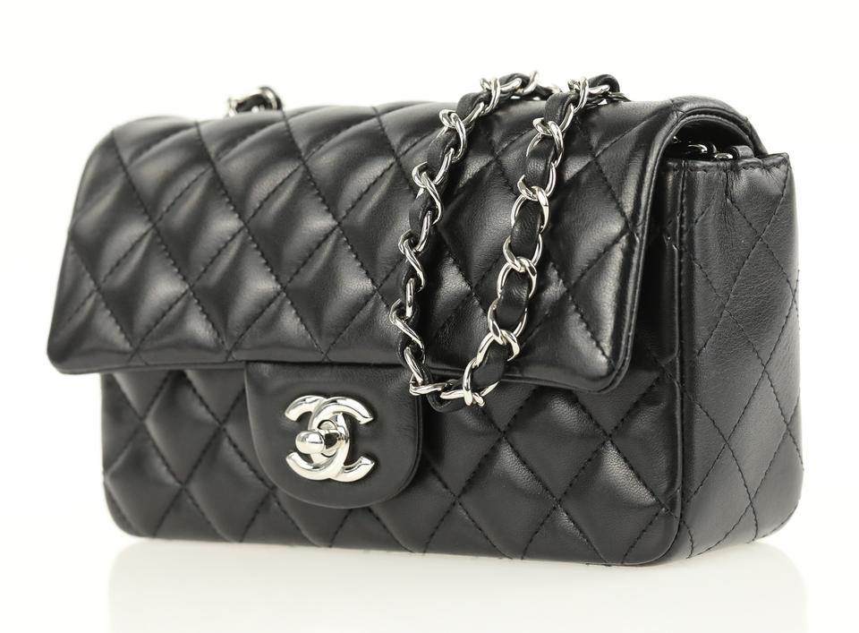 11479551a5a8 Chanel Classic Flap Quilted Mini Black Lambskin Leather Cross Body Bag -  Tradesy