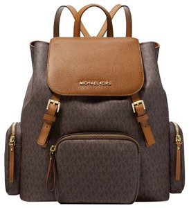 25af596a49bf Michael Kors Abbey Large Logo Cargo Brown Coated Canvas Backpack ...