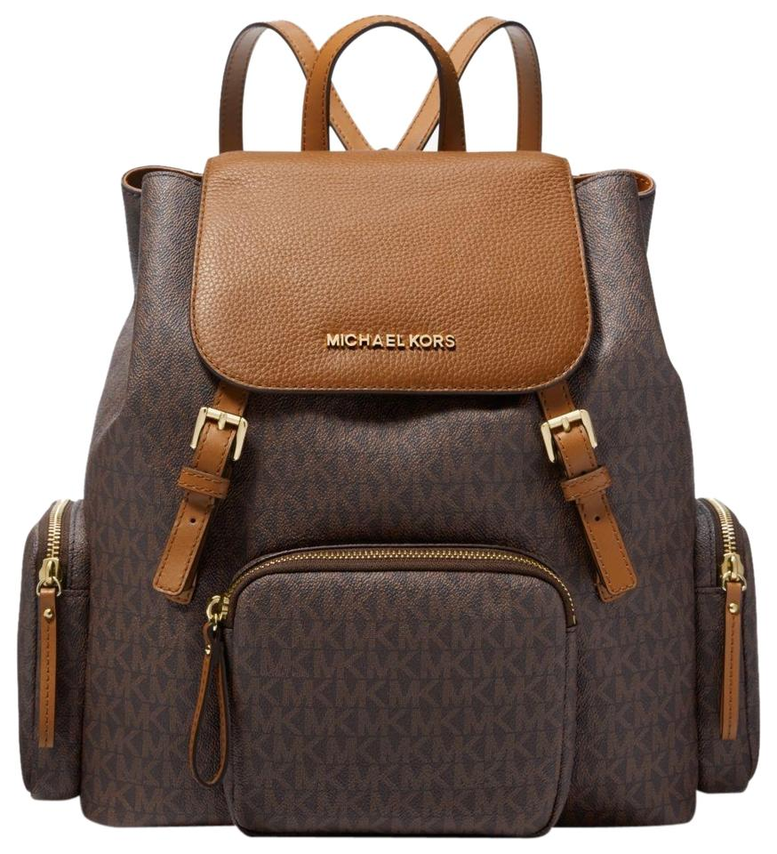 44aace9bfd1e Michael Kors Abbey Large Logo Cargo Brown Coated Canvas Backpack ...