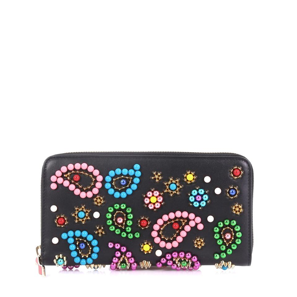 Christian Louboutin Black Beaded Panettone Leather Wallet 40 Off Retail