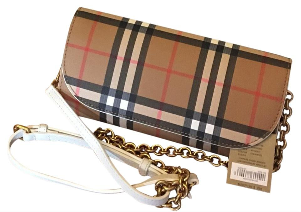 a63f532b9a52 Burberry Vintage Check and Wallet with Chain Chalk White Leather ...