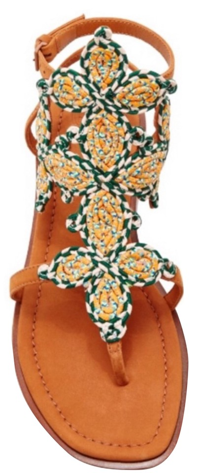 3750f963548d Tory Burch Orange Tan Palisade Flat Style   39257 Sandals. Size  US 7 ...