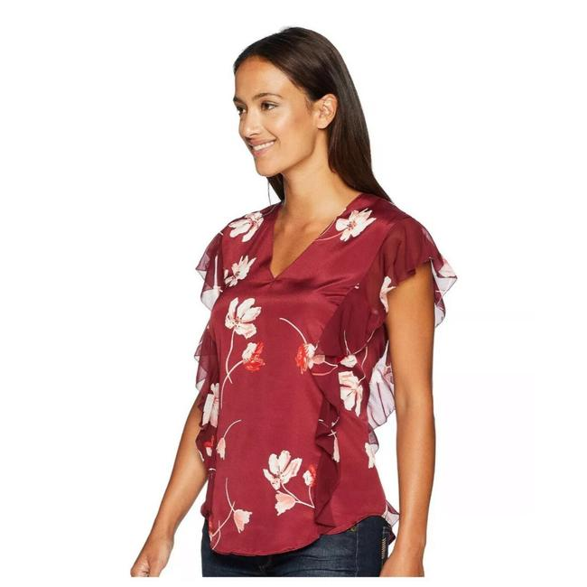 Item - Maroon Floral Ruffle Blouse Size Petite 2 (XS)