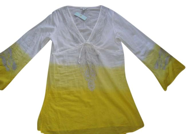 Item - Yellow-white with Silver Embroidery Tunic Size 14 (L)