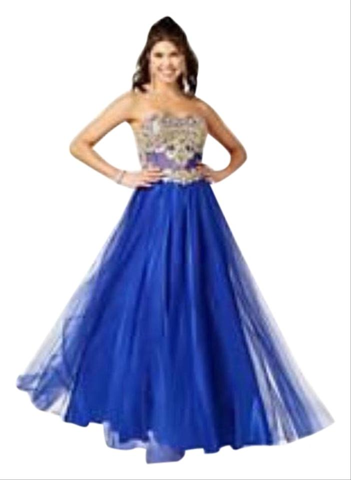 bde6d59c6a9 Blondie Nites Blue Royal and Gold Lace Crystal Corset Prom Gown Formal Dress