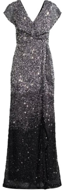 Item - Silver Black Carmela Beaded Column Gown Long Formal Dress Size 2 (XS)