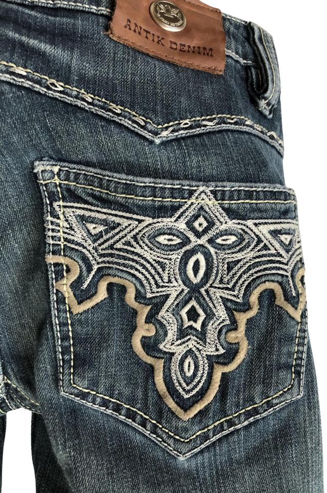 fba6185ca82 Antik Denim Blue Distressed Embroidered Low-rise Boot Cut Jeans Size 28 (4,  S) 81% off retail