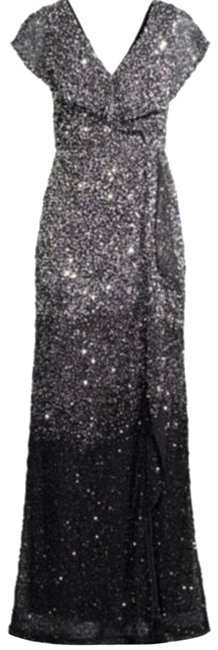 Item - Silver Black Carmela Beaded Column Gown Long Formal Dress Size 6 (S)