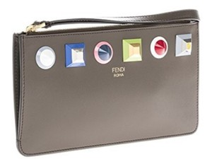 Fendi Leather Rainbow Collection Exclusive Wristlet in Grey