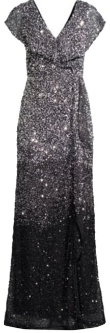 Item - Silver Black Carmela Beaded Column Gown Long Formal Dress Size 8 (M)