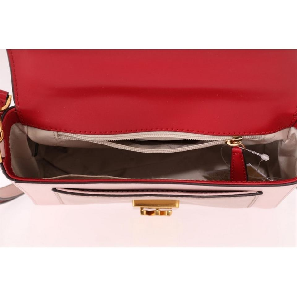 Michael Kors D5008 Women's Mindy Satchel Red Pink Leather Cross Body Bag 16% off retail
