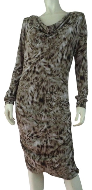 Item - Brown Tan Faux Snake Stretch Knit Mid-length Short Casual Dress Size 8 (M)