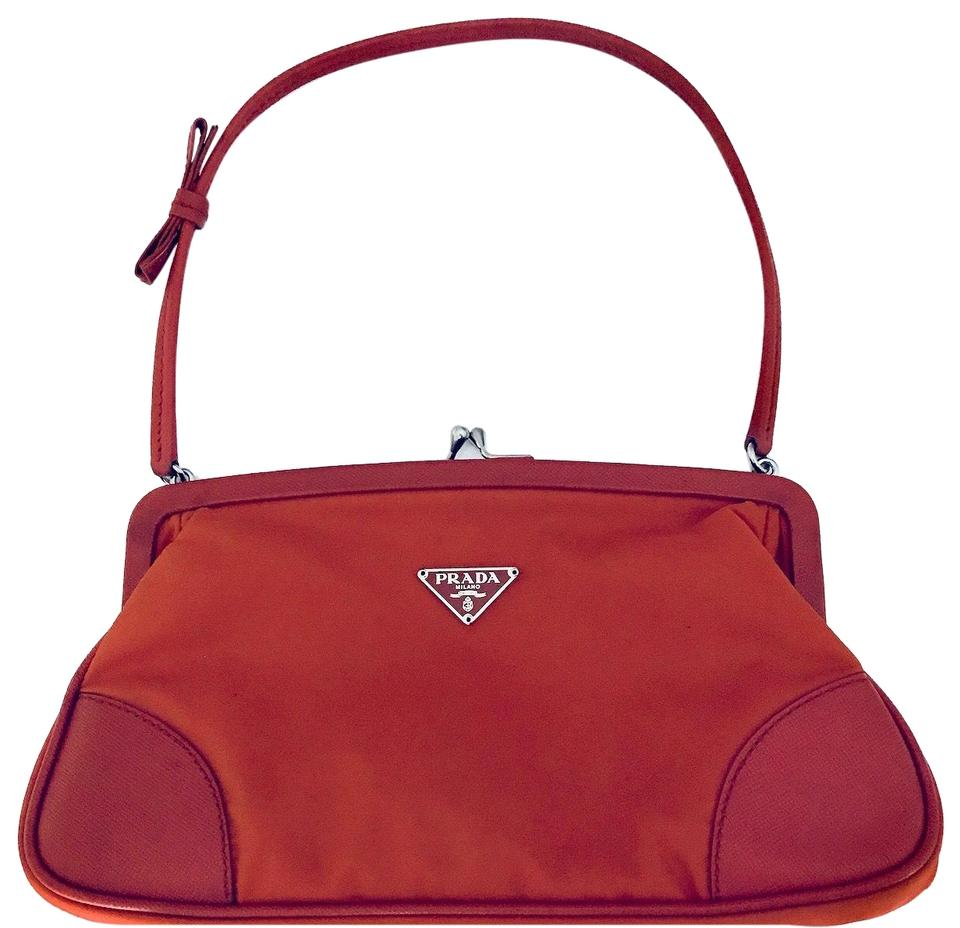 755952cd0a18 Prada Tessuto Saffiano Frame Red Nylon and Leather Shoulder Bag ...