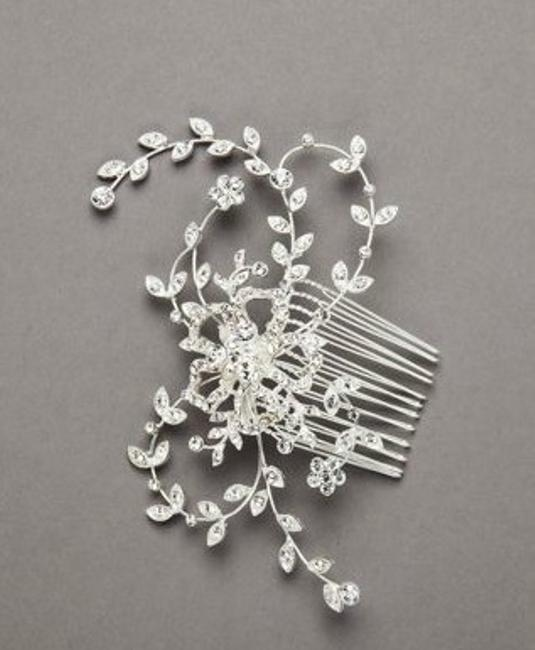 Item - Silver Crystal Embellished Floral Comb Style C8094 Hair Accessory
