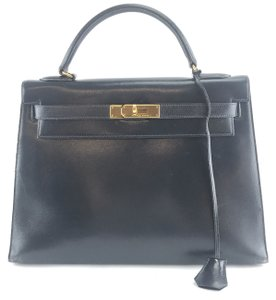 Hermès Kelly 32 Handbag Sellier Satchel in black with minor blue undertone  box calf leather 42d0fcd36eb03