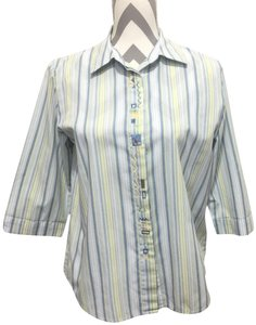 22a897fe0c2 Koret Petites Stripes Embroidery 3 4 Sleeve Button Down Shirt White Blue  Yellow
