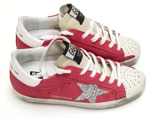 Golden Goose Deluxe Brand G34ws590.o49 Strawberry Suede-Silver Glitter Athletic Image 2