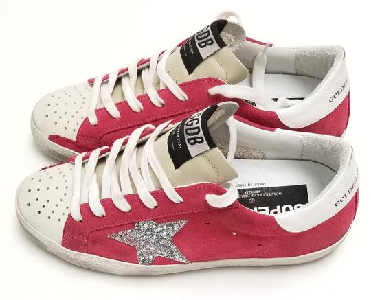 Golden Goose Deluxe Brand G34ws590.o49 Strawberry Suede-Silver Glitter Athletic Image 3